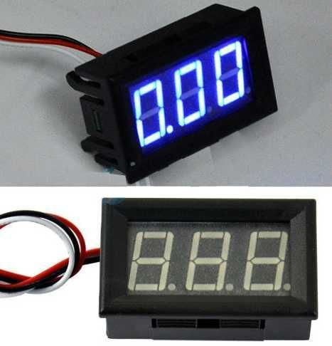 Voltmetr panelový LED modrý,  0-30V, LC18, 3 vývody