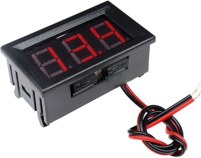 Voltmetr panelový LED červený,  3,5-30V, NC064, 2 vývody