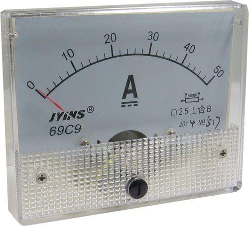 69C9 panelový MP 50A=(50mV) 80x65mm, bez bočníku