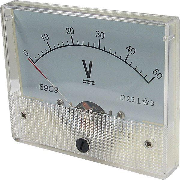 Analogový panelový voltmetr 69C9 50V DC
