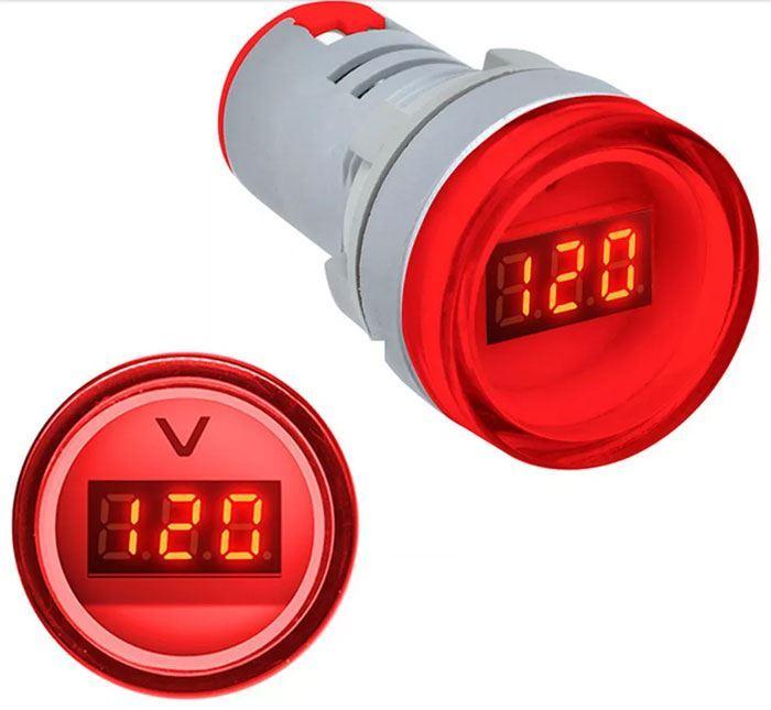 Voltmetr panelový AD16-22DSV, MP 60-500VAC, červený