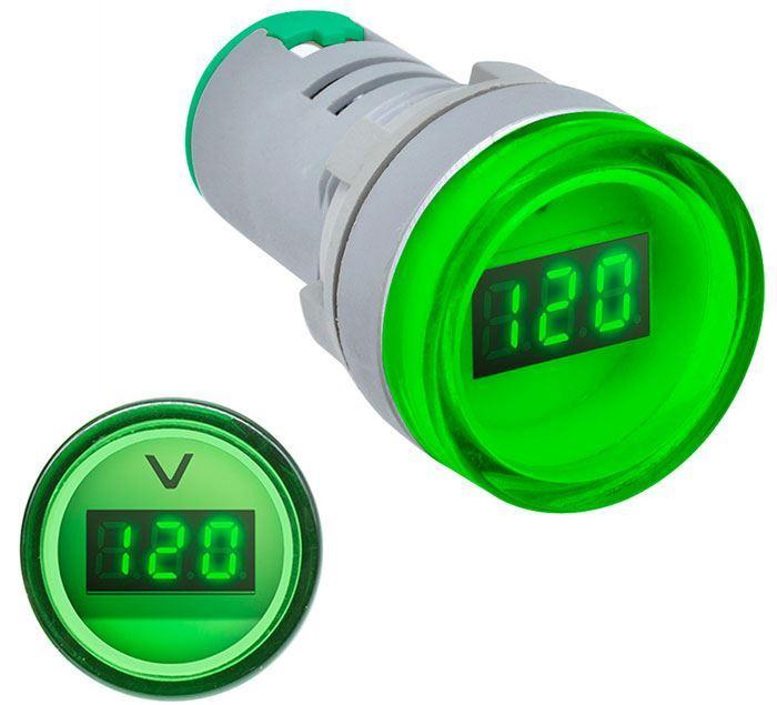 Voltmetr panelový AD16-22DSV, MP 60-500VAC, zelený