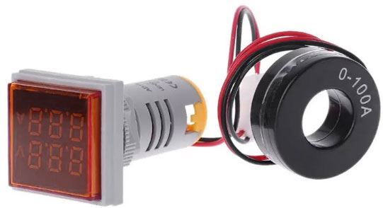 AD16-22FVA, panelový MP 60-500VAC+0-100AAC, červený