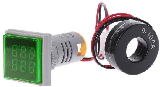 AD16-22FVA, panelový MP 60-500VAC+0-100AAC, zelený