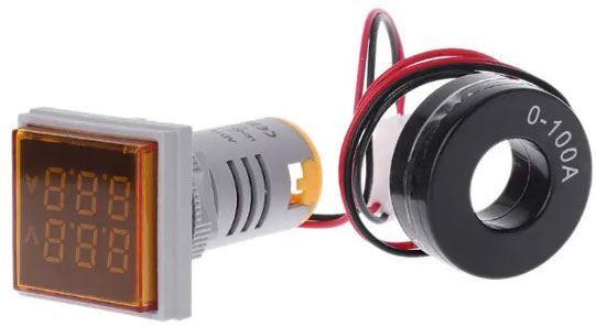 AD16-22FVA, panelový MP 60-500VAC+0-100AAC, oranžový