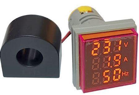 AD16-22VAHZS, panelový MP 60-500VAC+0-100AAC, 20-80Hz, červený