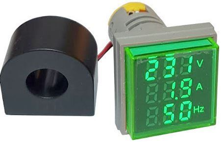 AD16-22VAHZS, panelový MP 60-500VAC+0-100AAC, 20-80Hz, zelený