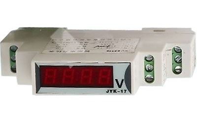 JYK-17-voltmetr  LED 500V~ na DIN lištu, napájení 8-12V~=