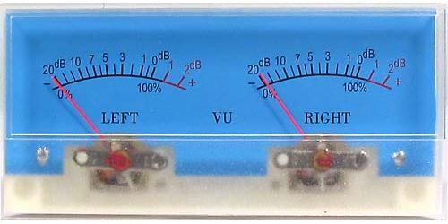 VU metr panelový 2x -20 až +5dB, 500uA 116x51mm