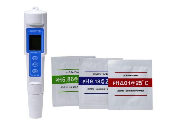 pH metr s kalibračním roztokem