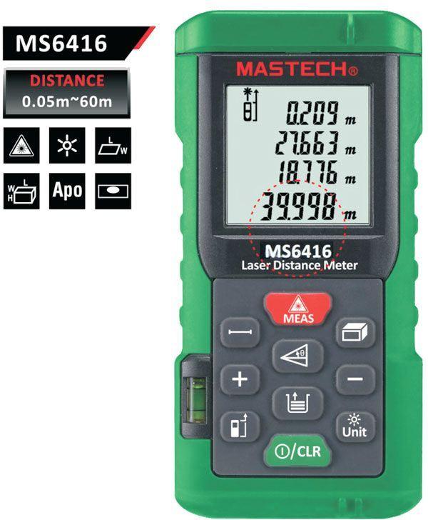 Laserový dálkoměr 0-60m MASTECH MS6416
