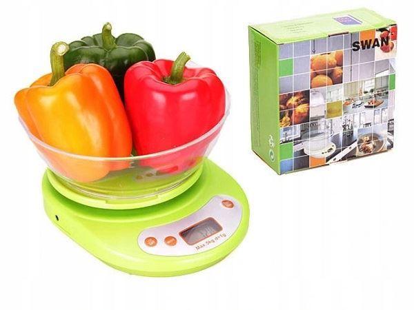 Kuchyňská váha do 5 kg s miskou, zelená
