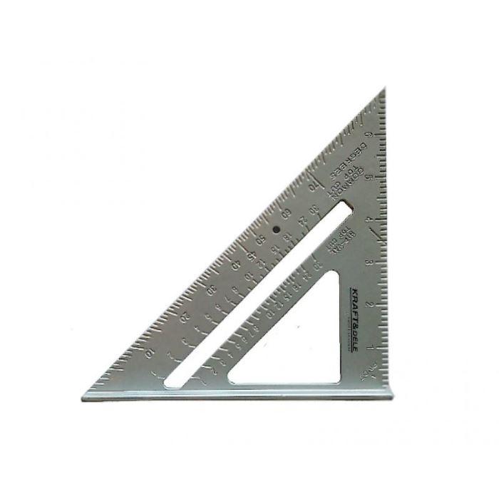Hliníkový trojúhelník pravítko 7palců, KRAFT DELE