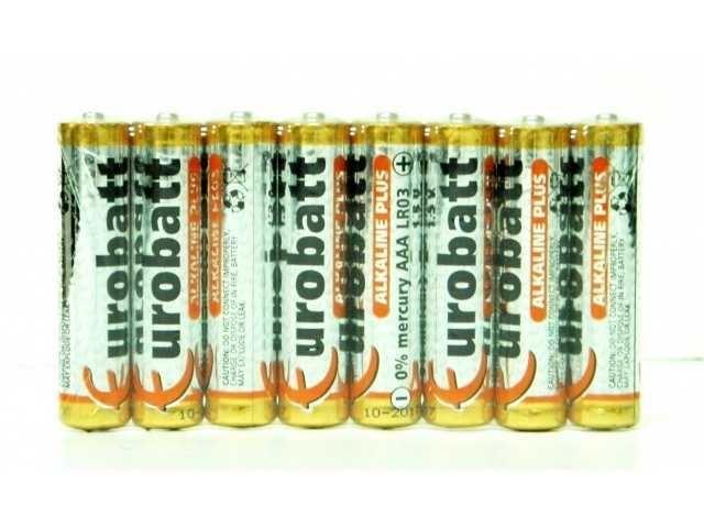 Baterie EUROBATT 1,5V AAA (LR03) Alkaline Plus, balení 8ks