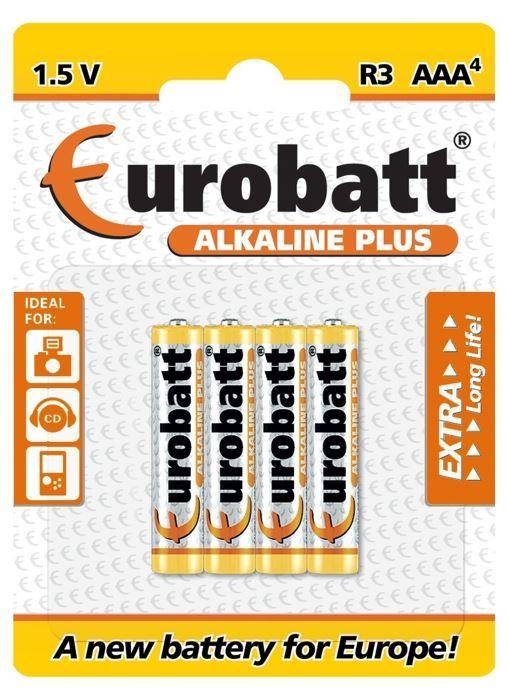 Baterie EUROBATT 1,5V AAA (LR03) Alkaline Plus, blistr 4ks