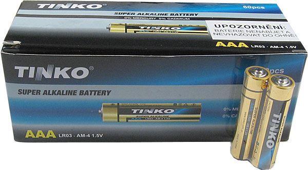 Baterie TINKO 1,5V AAA(LR03) alkalická, balení 60ks