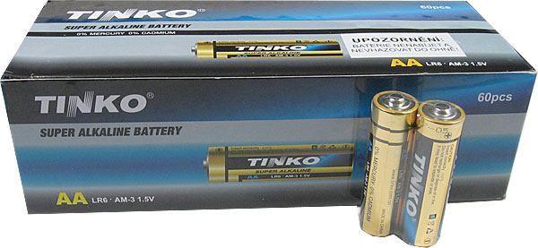 Baterie TINKO 1,5V AA(LR6) alkalická, balení 60ks