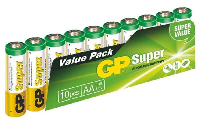 Baterie GP 1,5V AA (LR06) alkalická, balení 10ks ve fólii