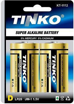 Baterie TINKO 1,5V D (LR20) alkalická, 2ks v blistru