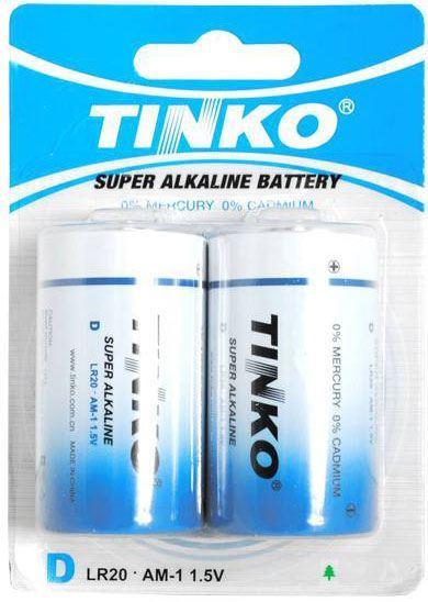 Baterie TINKO 1,5V D(LR20) alkalická modrá, 2ks v blistru