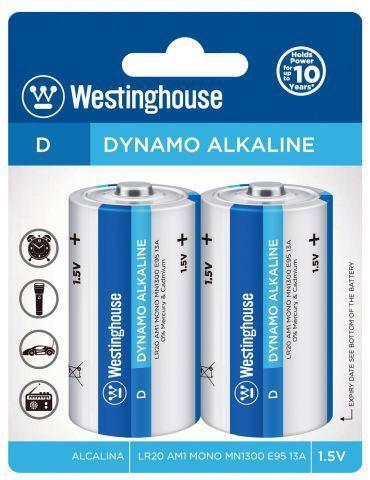 Baterie WESTINGHOUSE 1,5V D (LR20) alkalická, 2ks v blistru