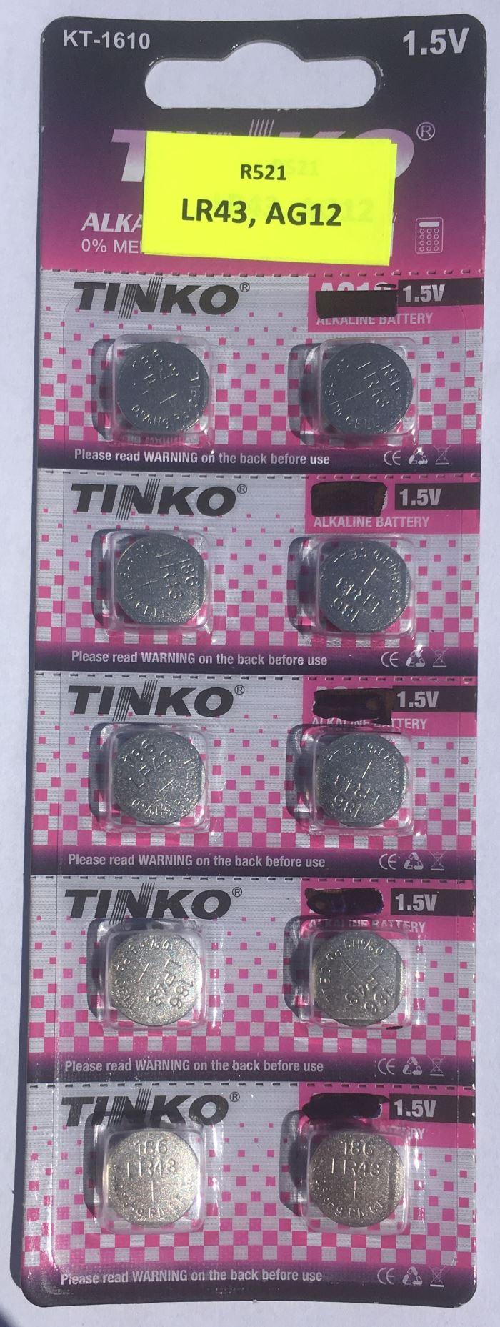 Baterie TINKO LR43 (AG12) alkalická, 10ks, opravený popis, po expiraci