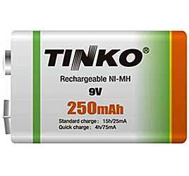Nabíjecí baterie NiMH 6F22 9V/250mAh TINKO