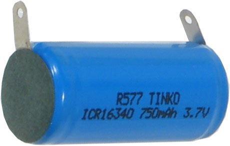 Nabíjecí článek Li-Ion ICR16340 3,7V/750mAh TINKO, páskové vývody