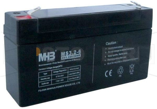 Pb akumulátor MHB VRLA AGM 6V/3,2Ah