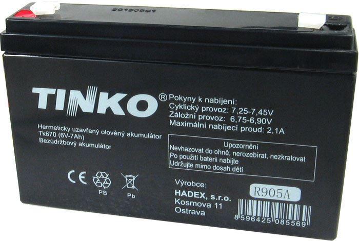 Pb akumulátor TINKO VRLA AGM 6V/7Ah
