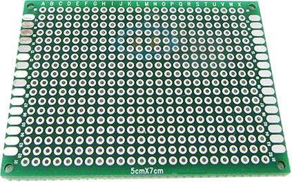 Univerzální DPS 5x7cm, 432p, RM=2,54mm, vrtaná, cínovaná