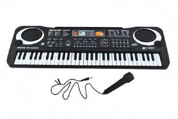 Elektronické dětské klávesy s mikrofonem - 61 kláves, černá