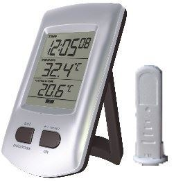 Teploměr bezdrátový +hodiny DCF WH0204, vadný