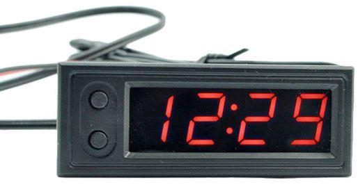 Digitální teploměr, hodiny, voltmetr  panelový 3v1, 12V, červený