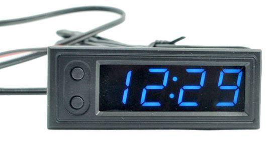 Digitální teploměr, hodiny, voltmetr  panelový 3v1, 12V, modrý