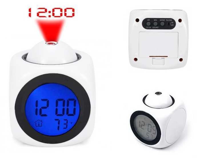 Digitální hodiny s projekcí + budíkem a teploměrem, bílé