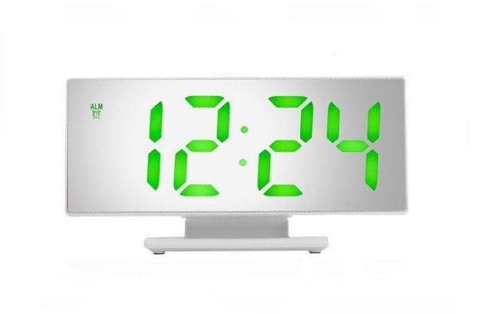 Multifunkční zrcadlové hodiny s budíkem a teploměrem bílé