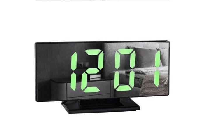Multifunkční zrcadlové hodiny s budíkem a teploměrem černé