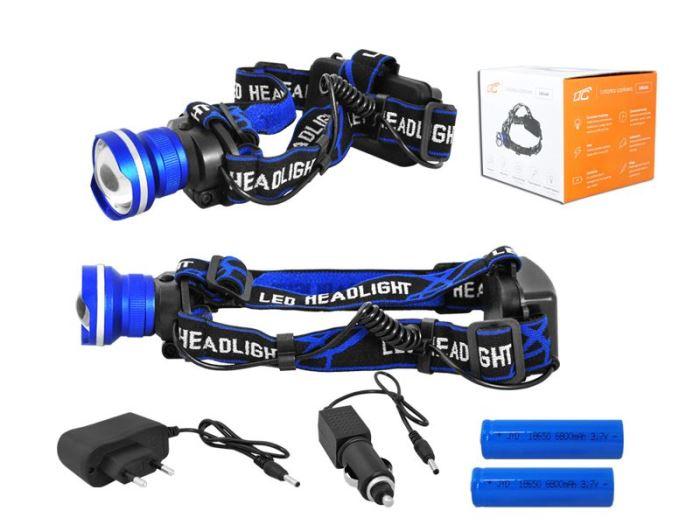 Svítilna LED 8W ,čelovka LTC LL46,  2x nabíjecí aku Li-Ion 18650,modrá