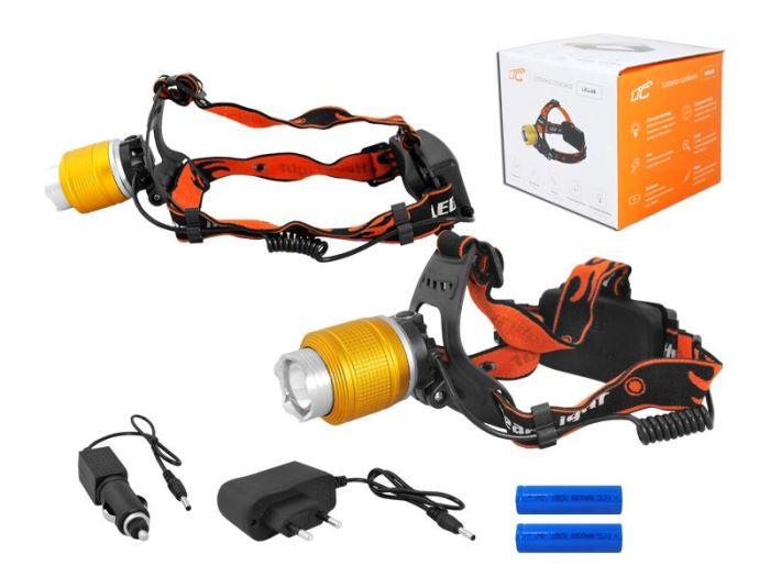 Svítilna LED 8W, čelovka LTC LL48, 2x nabíjecí aku Li-Ion 18650, zlatá