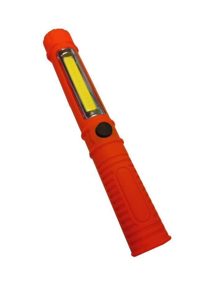 Pracovní svítilna LED COB + SMD , napájení 3xAAA, oranžová