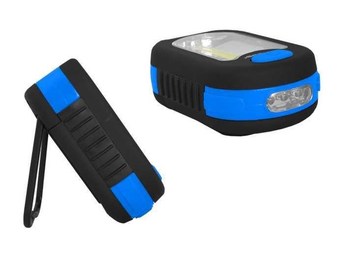 Svítilna LED COB + 3xLED, napájení 3xAAA, modrá, TIROSS