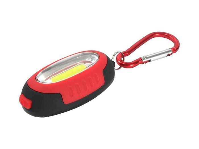 Svítilna klíčenka s magnetem, LED COB 1W, červená