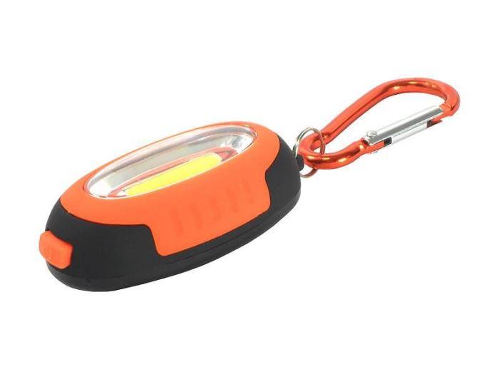 Svítilna klíčenka s magnetem, LED COB 1W, oranžová