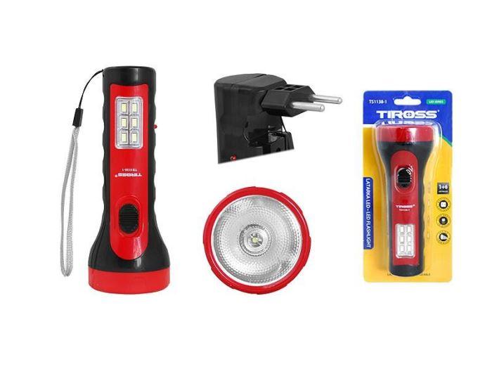 Svítilna LED ruční, 1 + 6 LED SMD, TIROSS, napájení akumulátor 500mAh