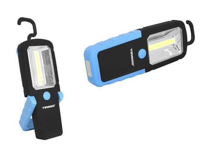 Svítilna ruční LED COB, napájení 3xAAA, modrá, TIROSS