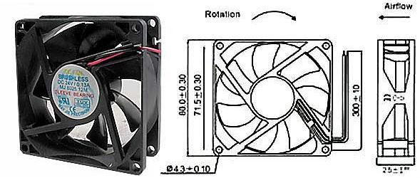 Ventilátor 80x80x25mm 24V/0,11A 3000 ot/min.