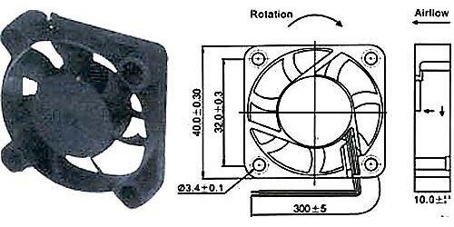 Ventilátor 40x40x10mm 12V/92mA 5800 ot/min SUNON