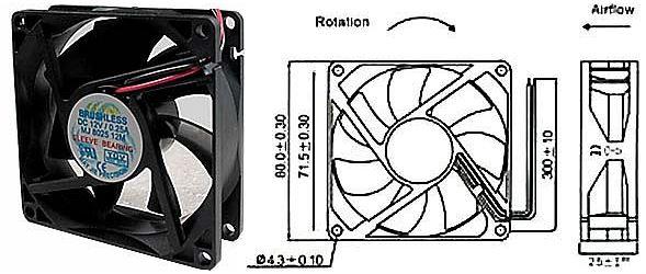 Ventilátor 80x80x25mm 12V/0,25A 3000 ot/min.