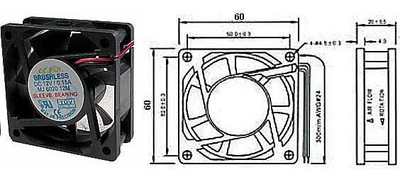 Ventilátor 60x60x20mm 12V/0,16A 4600 ot/min